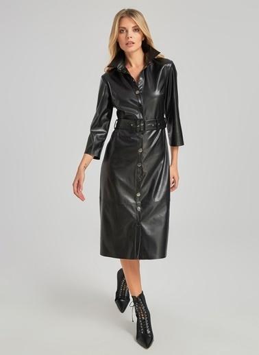 People By Fabrika Suni Deri Düğmeli Elbise Siyah